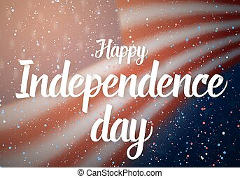 Happy Independence Day Vector Poster. 4th of July USA Flag on Blue Stars Background with Confetti Particle Effect