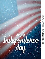 Happy Independence Day Vector Poster Template Lettering with Paper Effect. 4th of July American Flag with Stars and Confetti