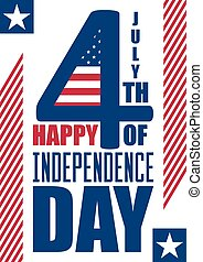 Happy Independence Day vertical background. July 4th. Fourth. Vector - Memorial. Flag. Patriotic celebrate