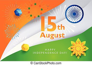 Happy India Independence Day greeting card vector