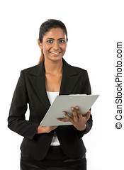 Happy Indian businesswoman with Clip Board