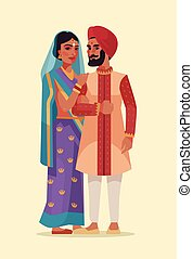 Happy Indian couple. Vector flat cartoon illustration