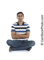 Happy Indian man looking at camera. Isolated on white background