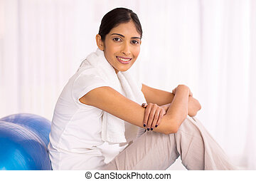 indian woman with exercise ball