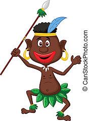 Happy indigenous people cartoon dan - Vector illustration of...