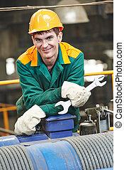 Happy industry worker repairman with spanner