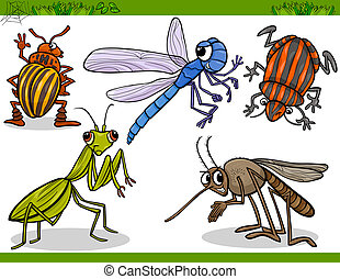 Cartoon Illustration of Happy Insects or Bugs Set like Dragonfly or Mosquito and Mantis