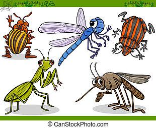 happy insects set cartoon illustration