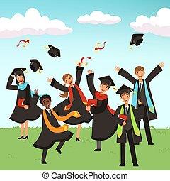 Happy international graduates with diplomas and graduation hats vector illustration