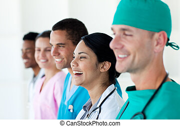 Happy international medical team in a row