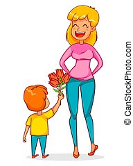 Funny boy gives a bouquet of tulips to his mother