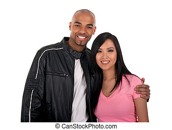 Happy interracial couple - Asian girl with African American...
