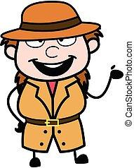 Happy Investigator Cartoon Illustration
