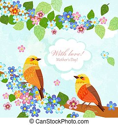 happy invitation card with couple of pretty birds for your design