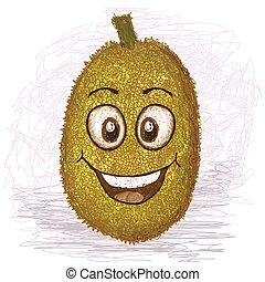 happy jackfruit - happy yellow jackfruit cartoon character...