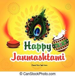 happy janmashtami background with