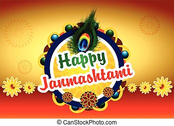 Happy Janmashtami background with peacock feather vector...