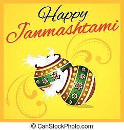 happy janmashtami background with pot vector illustration