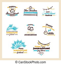 Happy Janmashtami Badges Set - Happy Janmashtami. Collection...