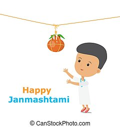 happy janmashtami boy - Krishna Janmashtami. An Indian boy...