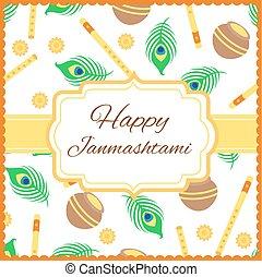 Happy Janmashtami card with Krishna flute isolated on white background.