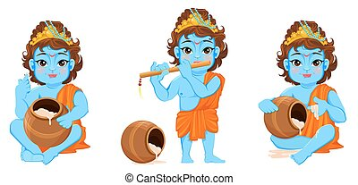Celebrating birth of Krishna. Boy with flute and a pot -...