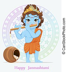 Happy Janmashtami. Celebrating birth of Krishna. Boy with...