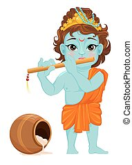 Celebrating birth of Krishna. Boy with flute. - Happy...