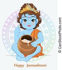 Happy Janmashtami. Celebrating birth of Krishna. Little...