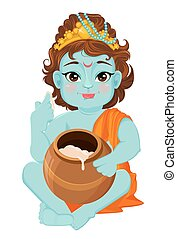 Happy Janmashtami. Celebrating birth of Krishna. Little...