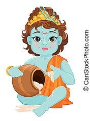 Happy Janmashtami. Celebrating birth of Krishna. Traditional...