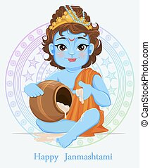 Happy Janmashtami. Celebrating birth of Krishna. Traditional...
