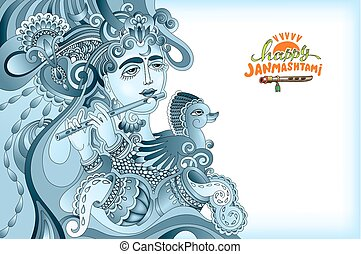 happy janmashtami celebration art design with a picture of a...