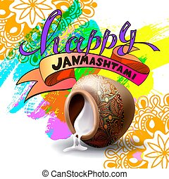 happy janmashtami celebration banner design with hand...