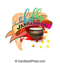 happy janmashtami celebration banner with hand lettering...