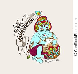 happy janmashtami celebration card with hand lettering...