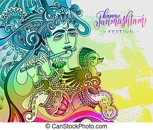 happy janmashtami celebration colorful design with a picture...
