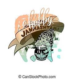 happy janmashtami celebration design greeting card with hand...