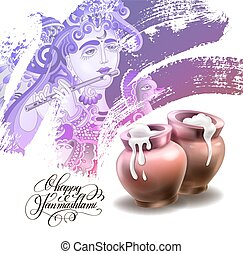 happy janmashtami festival artwork design to indian krishna...