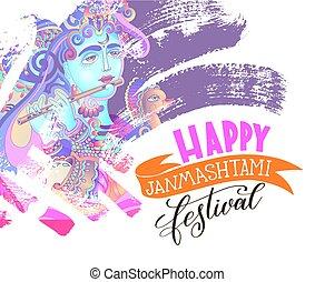 happy janmashtami festival artwork design to indian krishna...