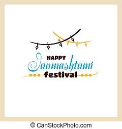 Happy Janmashtami Festival - Happy Janmashtami. Color badge...