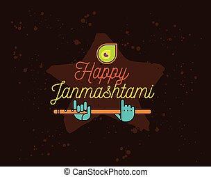Happy Janmashtami festival typographic vector design....