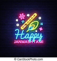 Happy Janmashtami greeting card neon vector design template....