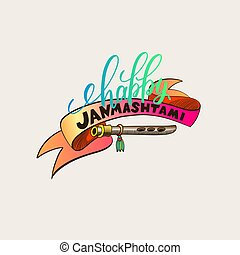 Happy janmashtami hand lettering inscription logo design,...