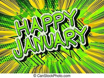 Happy January - Comic book style word.