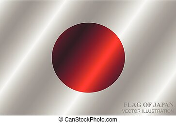 Happy Japan day background. Bright button with flag of Japan. Vector.
