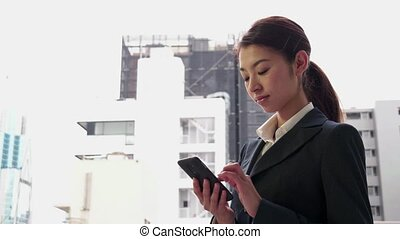Happy Japanese Asian Businesswoman