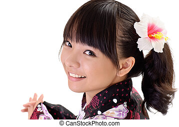 Happy japanese girl with smiling face, closeup portrait on white background.