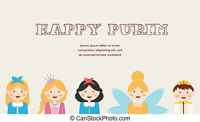 Happy jewish children in fancy dress Enjoy Purim - Happy...