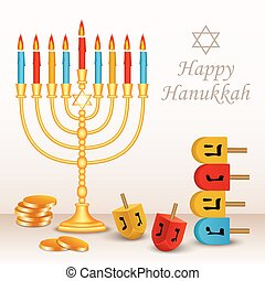 Happy jewish hanukkah concept background, realistic style -...